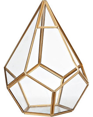 "New triangle geometric terrarium Diamond shape Gold 9.5""x6.3"""