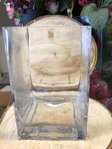 "4""x4""x12"" Cube Square Vase - Richview Glass Wedding Supplies"