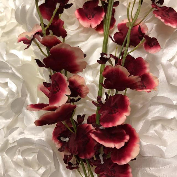 Artificial Flower Burgundy Oncidium Dancing Lady orchid - Viva La Rosa