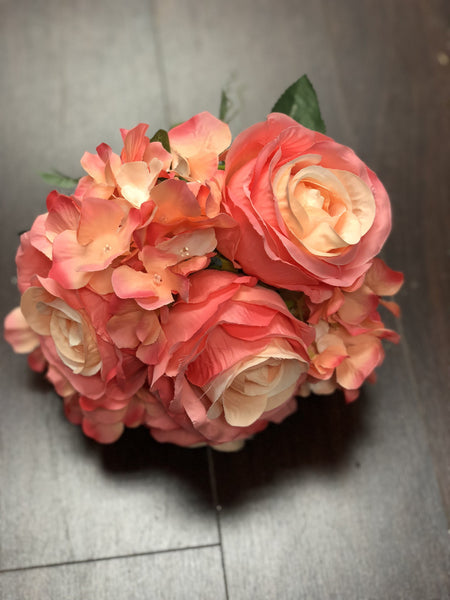 Silk Flower Bouquet Regular Size (Coral)-SIL1-3