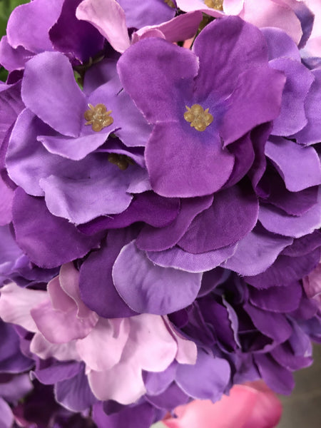 Artificial Flower Mixed purple Hydrangea Bunch 7 head silk - Viva La Rosa