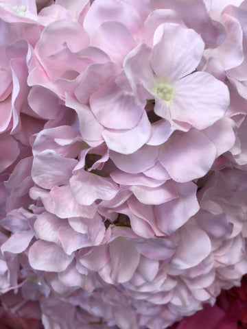 Artificial Flower Light Pink Hydrangea Bunch 7 head silk - Viva La Rosa