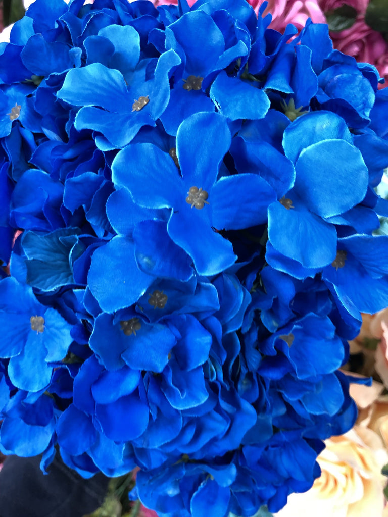 Artificial Flower Royal Blue  Hydrangea Bunch 7 head silk - Viva La Rosa