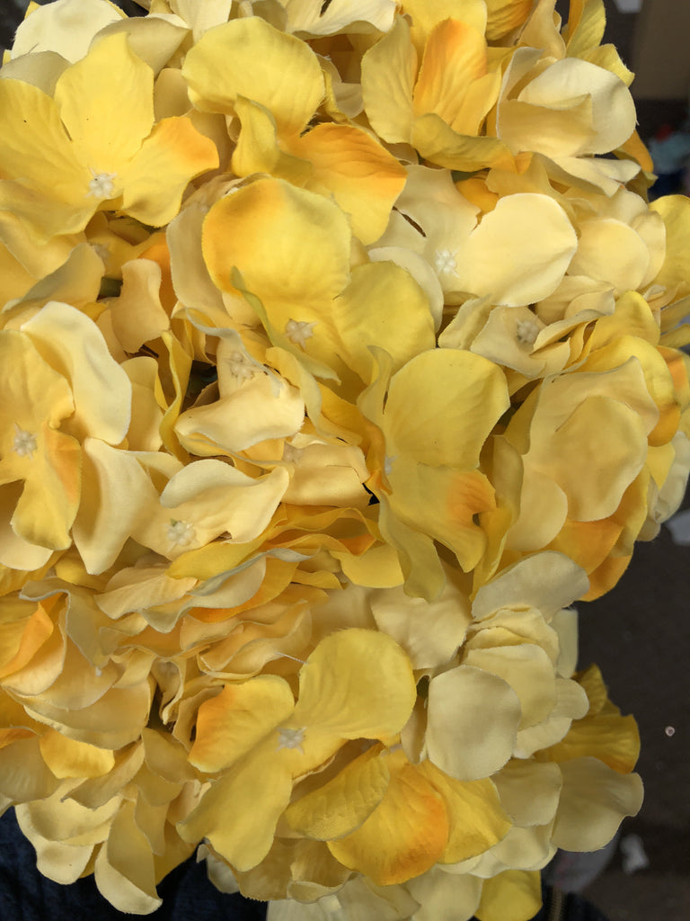 Artificial Flower Yellow Hydrangea Bunch 7 head silk - Viva La Rosa