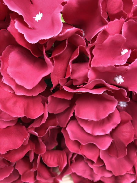 Artificial Flower Hot Pink Hydrangea Bunch 7 head silk - Viva La Rosa
