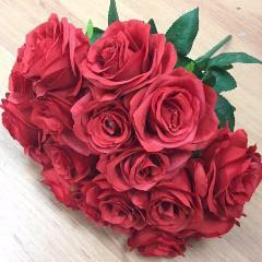 Artificial Flower Rose Bunch with leaf 18 head (red) -FLO1-6 - Viva La Rosa