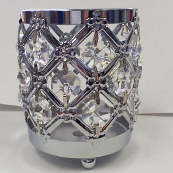 "GOLD/SILVER 3.75""H CRYSTAL BEADED CANDLE HOLDER DECOR CANDLEHOLDER (Silver) - Richview Glass Wedding Supplies"
