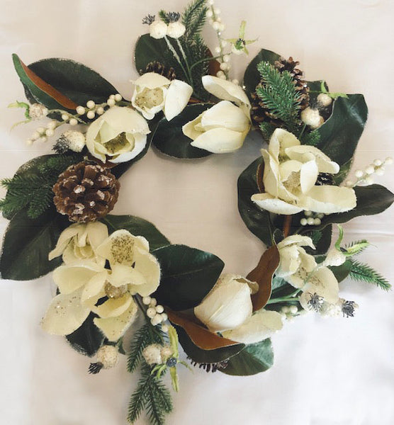 Artificial Flower Wreath with Magnolia White - Viva La Rosa
