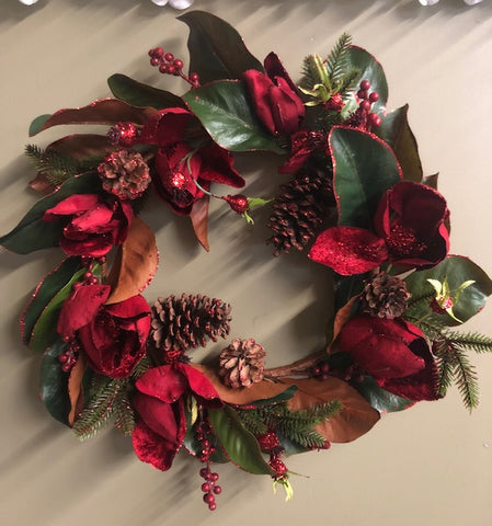Artificial Flower Wreath with Magnolia Red - Viva La Rosa