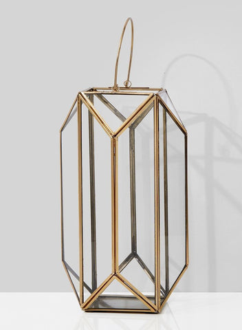 "Gold Lantern 12""H X 7"" VR0148 - Richview Glass Wedding Supplies"