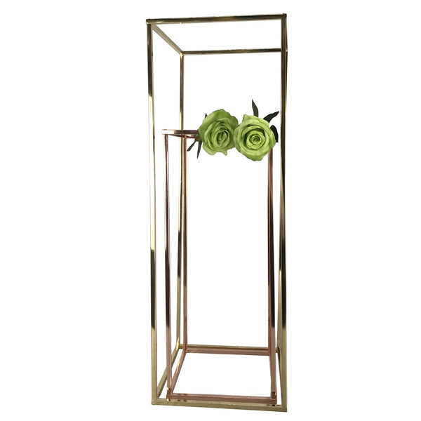Modern Rectangular Stand Metal Rose Gold Geometric Vases 32'' Need Assembly