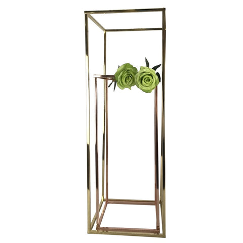 Modern Rectangular Stand Metal Gold Geometric Vases 32'' Need Assembly