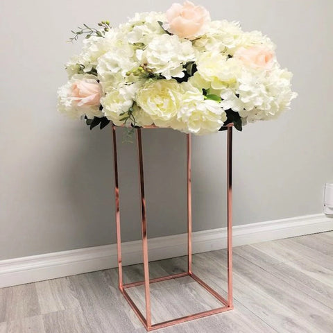 Modern Rectangular Stand Metal Rose Gold Geometric Vases 24'' Need Assembly