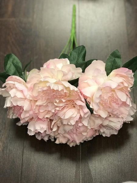 7 HEAD FABRIC ARTIFICIAL PEONIES PEONY BUNCH Salmon - Richview Glass Wedding Supplies