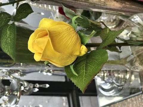 REAL TOUCH SINGLE STEM ROSE BUD SB026 (Yellow)-REA1-11
