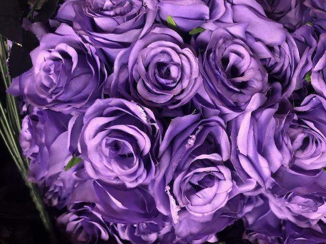 New Artificial Flower Blue Purple Rose Bunch with leaf 18 head