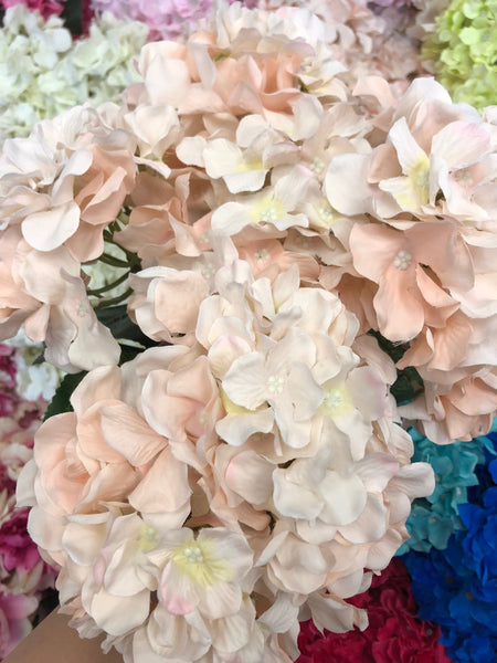 Artificial Flower Mix Blush Hydrangea Bunch 7 head silk - Viva La Rosa