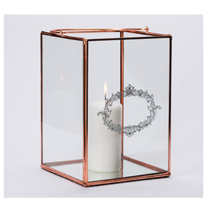 Geometric Lantern 4.5''D X 7.5''H (rose gold)