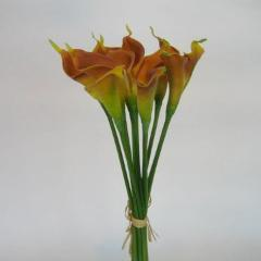 REAL TOUCH CALLA LILY LILIES MINI 12/BUNCH SB112 ORANGE
