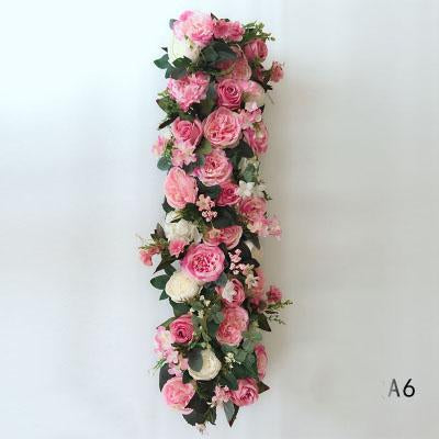 Table Runner Artificial Flower Rose Hydrangea Arrangement A6
