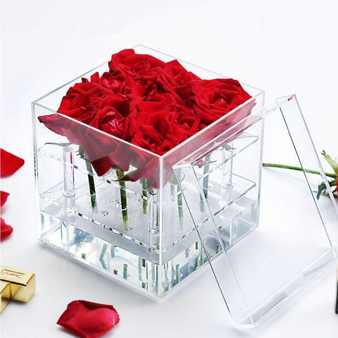 9 Hole Acrylic box centerpiece For Flowers - Viva La Rosa