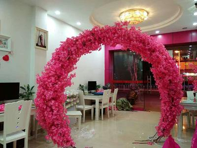 Hot Pink cherry blossom Flower Metal Backdrop Stand Round Arch 2.5mx2.2m REV1