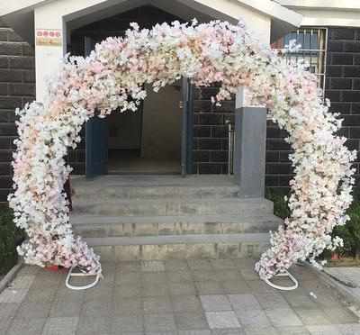 White cherry blossom Metal Backdrop Stand Round Arch 2.5mx2.2m
