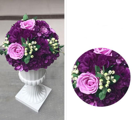 Artificial Flower Rose Hydrangea Arrangement Dark Purple - Viva La Rosa
