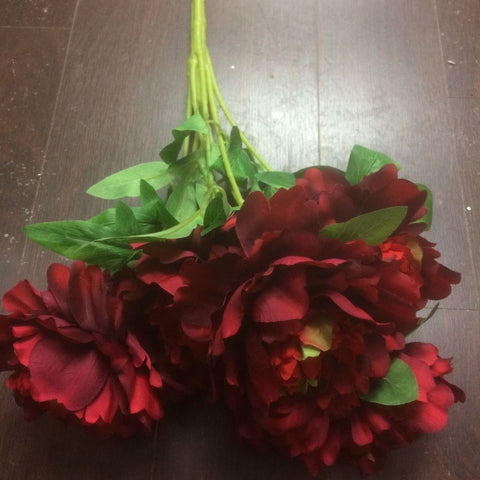 7 head Artificial Flower Burgundy Peony Bunch - Viva La Rosa