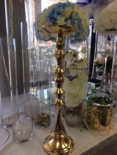 "GOLD 20.5"" METAL CANDLE HOLDER DECOR CANDLEHOLDER - Richview Glass Wedding Supplies"