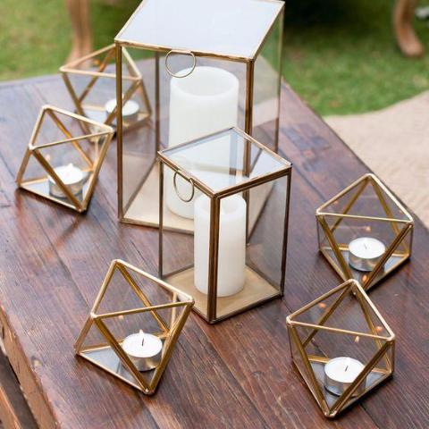 "Gold Geometric 5""x4"" square glass candleholder Candle Holder Terrarium Vase"