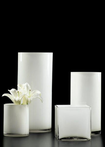 "White 5"" Cube Vase - Richview Glass Wedding Supplies"