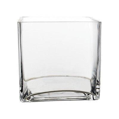 "GLASSWARE WHOLESALE 4"" Clear CUBE VASE GLASS VASE - Richview Glass Wedding Supplies"