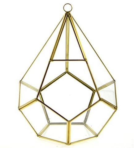 "New 9.5"" X 6.3""D Diamond Shaped geometric terrarium Gold"