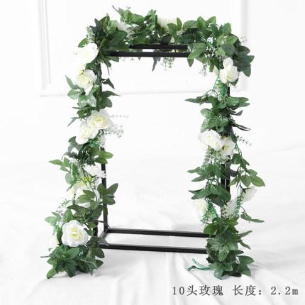Green Artificial Flower Ivy leaf Garland with pink flower wedding greenery 2.2m