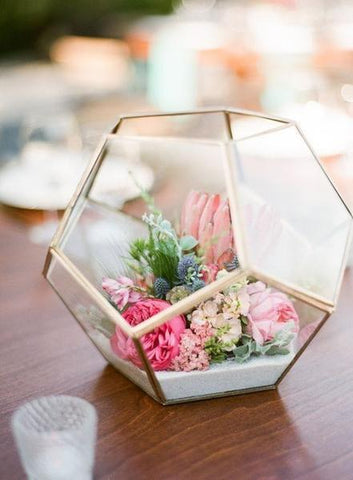 "Geometric 7"" Planter Glass Hexagon Ball Terrarium Vase (Gold)  XDGW341-1 - Viva La Rosa"