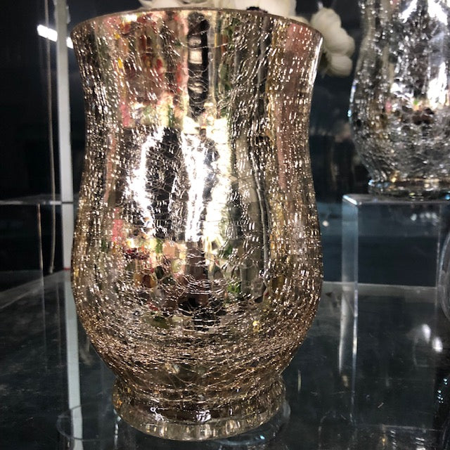 "Crackled Gold New Hurricane vase 7""Hx5"" - Viva La Rosa"