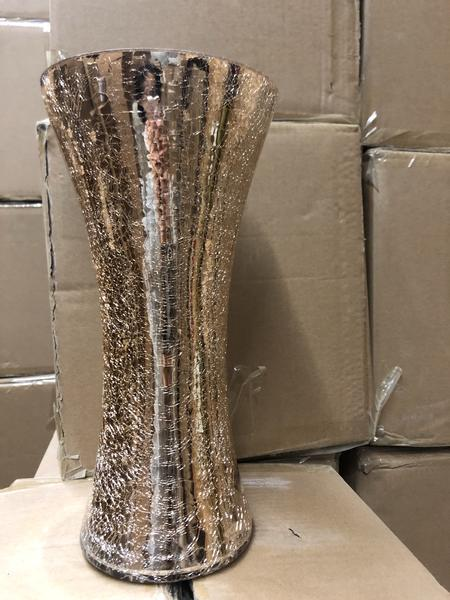 "New Gold Crackled Small Bud vase 11.9""Hx5.7"" wedding centerpiece"