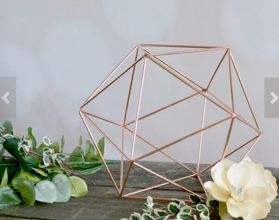 "Geometric 12"" Planter Glass Hexagon Ball Terrarium frame (Rose Gold) No glass"