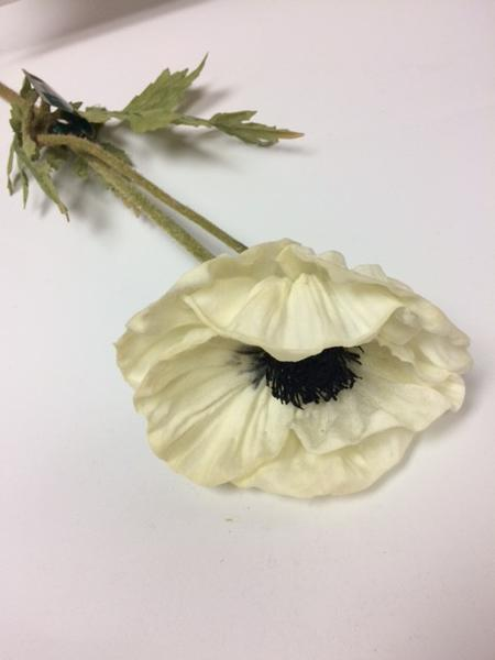 Large Black Eyed Susan Poppy PU Material Floramatique Real Touch (White) LAR1