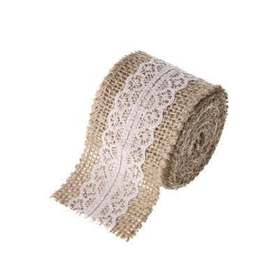 Burlap White Lace Ribbon DIY Decor Material (BUR1) - Viva La Rosa