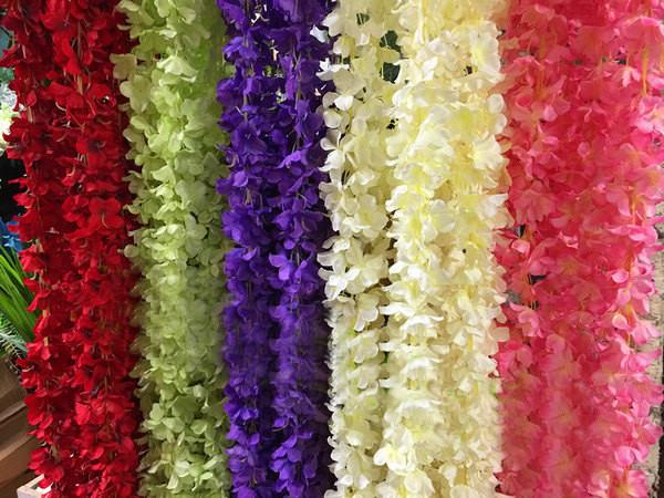 Artificial Flower Hanging Flower Garland Wisteria Single Strand 2.2m(white)ART1-45 - Viva La Rosa