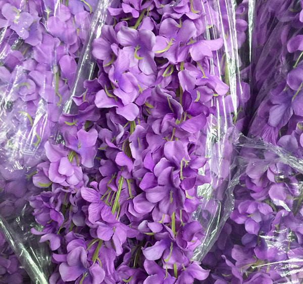 Artificial Flower Hanging Flower Garland Wisteria Single Strand 2.2m Purple - Viva La Rosa