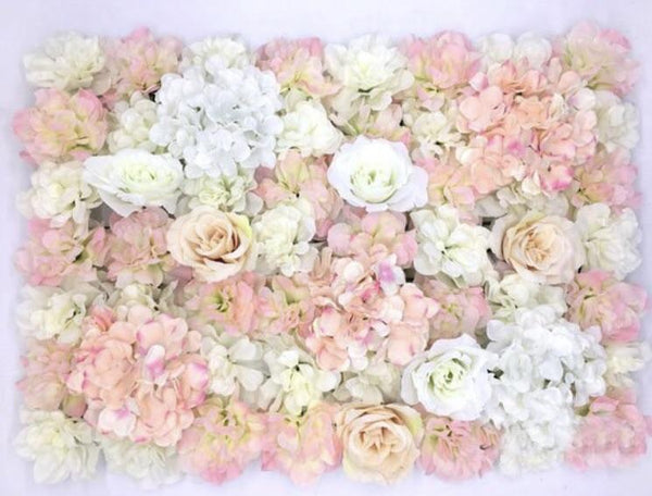 Backdrop Panel Roses Hydrangea Blush Artificial Flower wall - Viva La Rosa