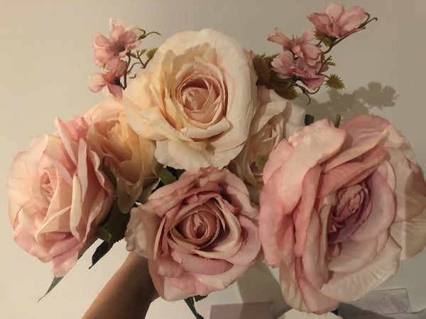 Mixed pastel pink Roses Artificial Flower with filler