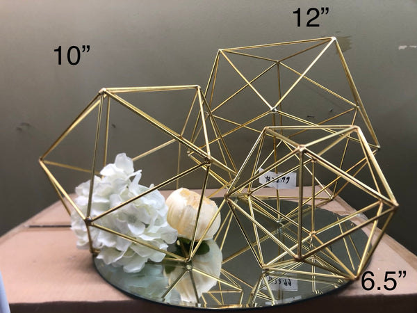 "Geometric 10"" Planter Hexagon Ball Terrarium frame (Gold) No glass"