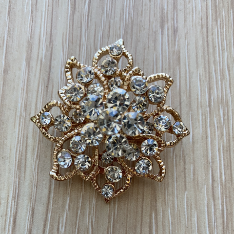"Small flower Brooch decoration 1.5"" diameter gold"