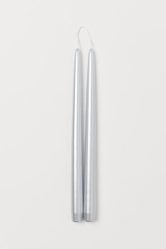 "Pack of 12 PCs Silver taper Candles wedding decor 10"" long"