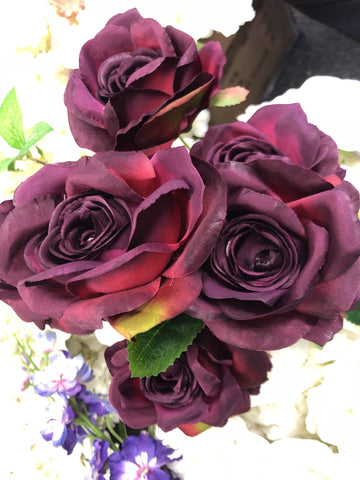 7 head Burgundy Sweet Rose Artificial flower - Viva La Rosa