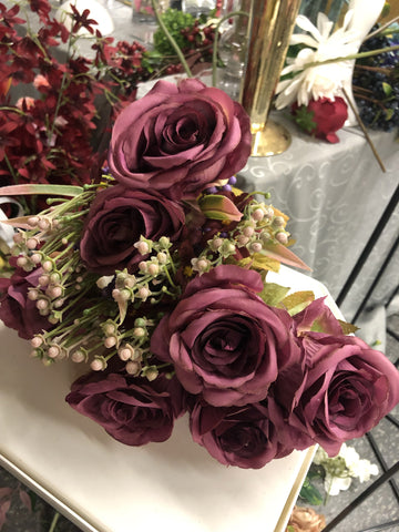 Wine color burgundy ROSE BUNCH With fillers